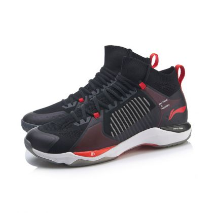 Male Professional Badminton Competition Shoes, Standard Black/Berry Red